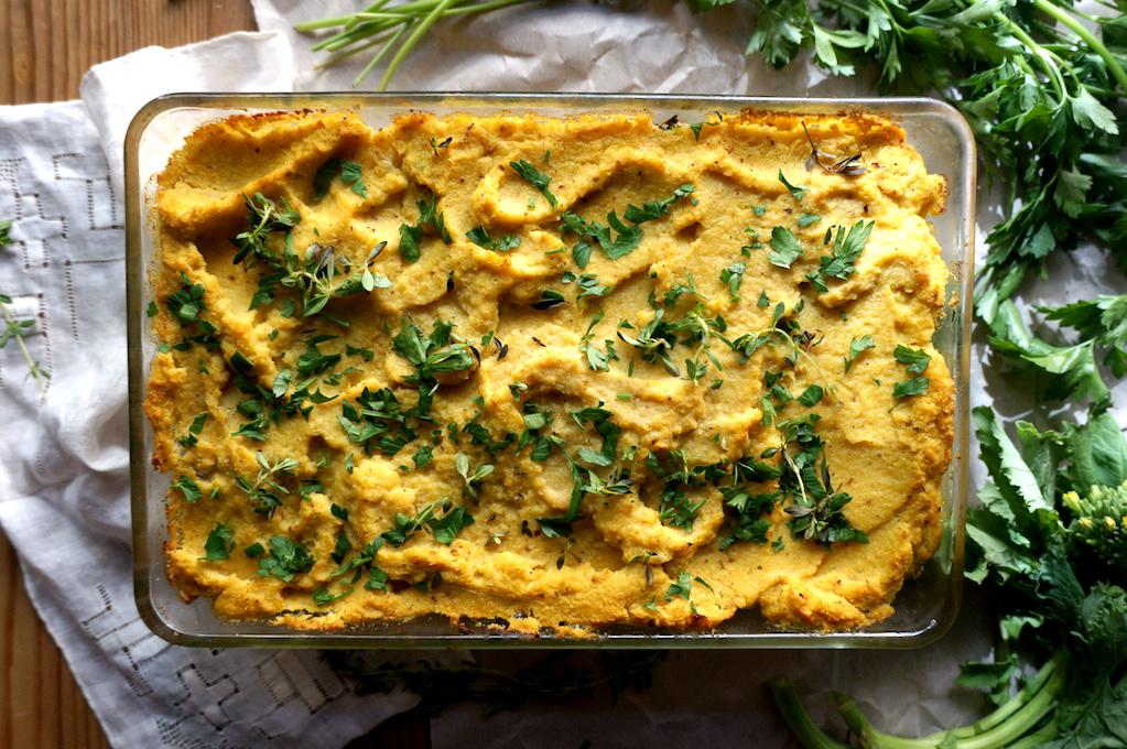 Herbed Cauliflower Gratin in the baking dish