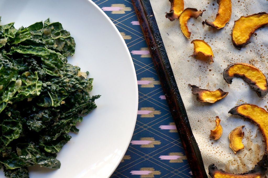 Rubbed Kale and Acorn Squash