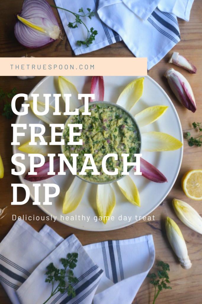 Guilt Free Spinach Dip #spinachartichokedip #glutenfreedip #healthyfootballrecipe #gamedayrecipe #thetruespoon
